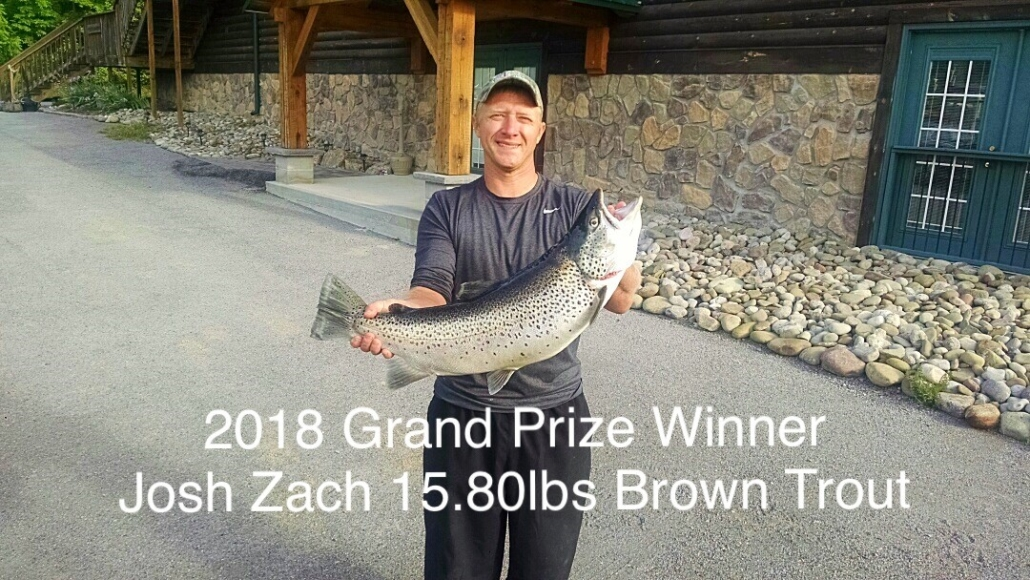 2018 Grand Prize Winner Josh Zach 15.80lbs Brown Trout