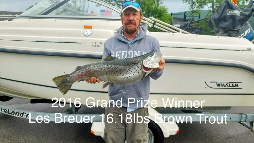 2016 Grand Prize Winner Les Breuer 16.18lbs Brown Trout